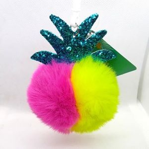 NWT Pineapple Pom Pom Fluffy Key Chain Purse Charm